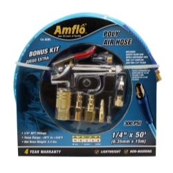 "Amflo 14-50K Poly Air Hose 50' x 1/4"" with Bonus 9 Piece Kit image"