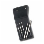 "Image Mayhew 15006 5 Pc Pin Punch Set, 150 Lineâ""¢ Leather Pouch"