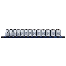 "Sunex 29102C 13 Pc. 1/2"" Dr. Standard Socket Set MM 6pt on rail image"