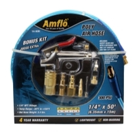 "Image Amflo 14-50K Poly Air Hose 50' x 1/4"" with Bonus 9 Piece Kit"