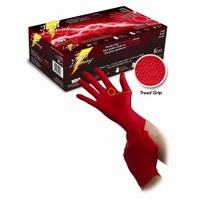 Image Atlantic Safety Company RL-L POWDER FREE RED NITRILE GLOVES WITH TREAD GRIP