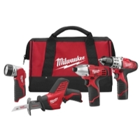 Image Milwaukee Electric Tools 2498-24 M12 Cordless LITHIUM-ION 4 Tool Combo Kit
