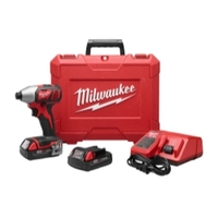 """Image Milwaukee Electric Tools 2656-22CT M18 1/4"""" HEX COMPACT IMPACT DRIVER KIT"""
