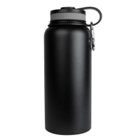 Image Sarge WB-32BK 32oz Black Stainless Steel Water Bottle
