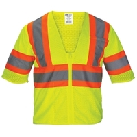 Image SAS Safety 690-2222 SAS Safety Class-3 Mesh Yellow Safety Vest with F