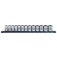 "Image Sunex 29102C 13 Pc. 1/2"" Dr. Standard Socket Set MM 6pt on rail"