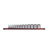 "Image Sunex 38001C 13Pc. 3/8"" Dr Standard Socket Set SAE 12pt on Rail"