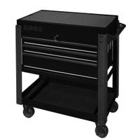 Image Sunex 8035XTBK 3 Drawer Slide Top Utility Cart w/ Power - Black