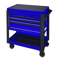 Image Sunex 8035XTBL 3 Drawer Slide Top Utility Cart w/ Power - Blue