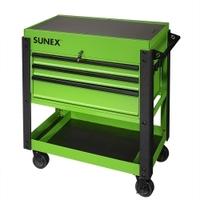 Image Sunex 8035XTLG 3 Drawer Slide Top Utility Cart w/ Power - Lime Gr