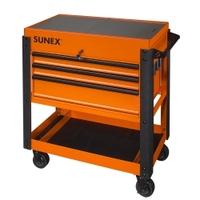 Image Sunex 8035XTOR 3 Drawer Slide Top Utility Cart w/ Power - Orange