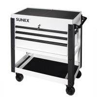 Image Sunex 8035XTWH 3 Drawer Slide Top Utility Cart w/ Power - White